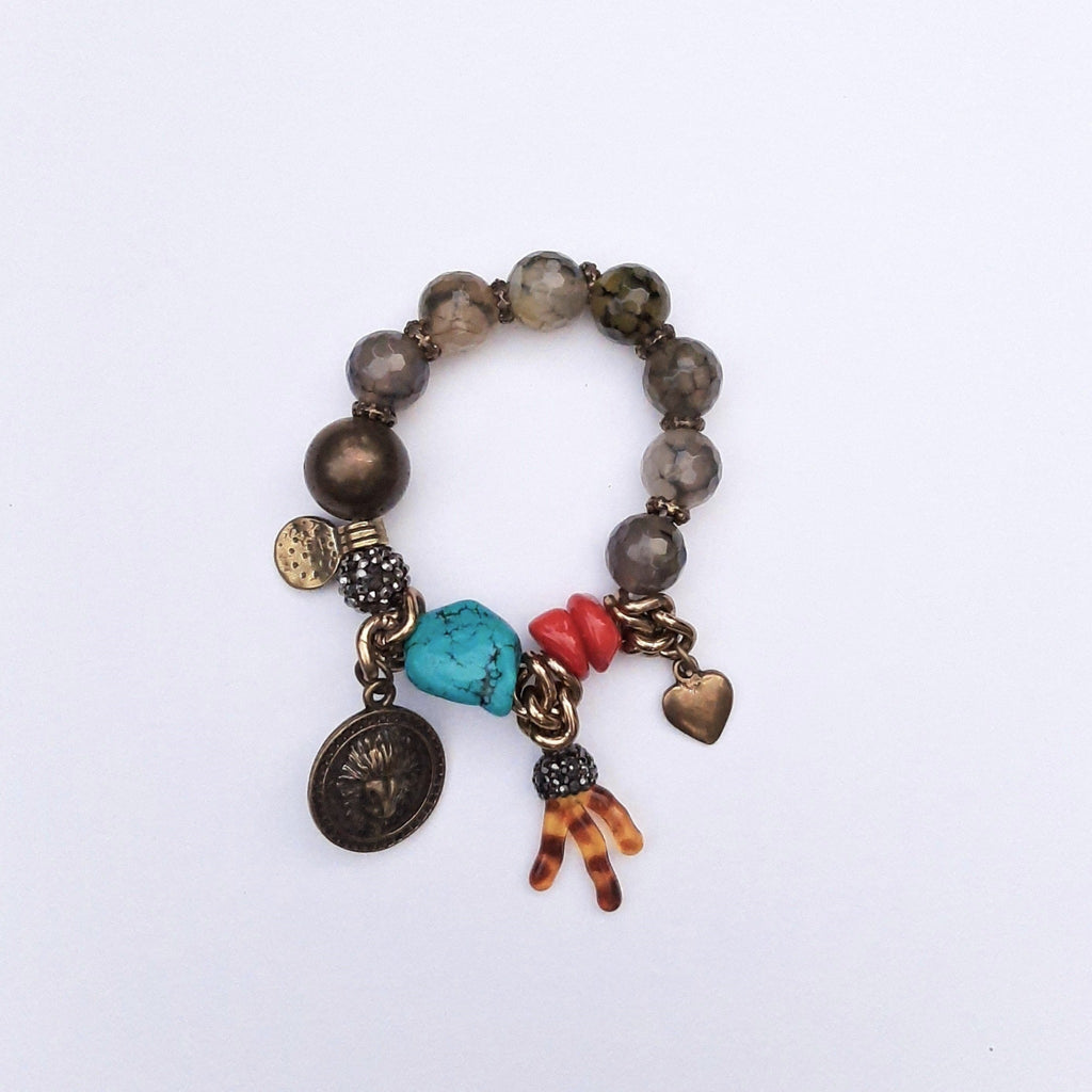 """Stay in the Moment"" Bracelet with Unakit, Turquoise and Coral Stone 