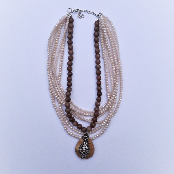 Multi Strand Energy Necklace with Crystals and Solar Stone | FeelHeal.me