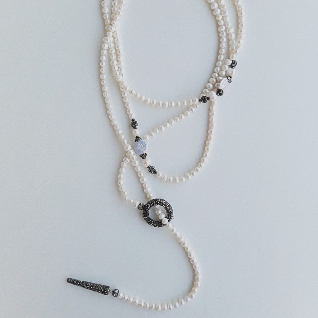 Pearl Mala Necklace with Pandellum | FeelHeal.me