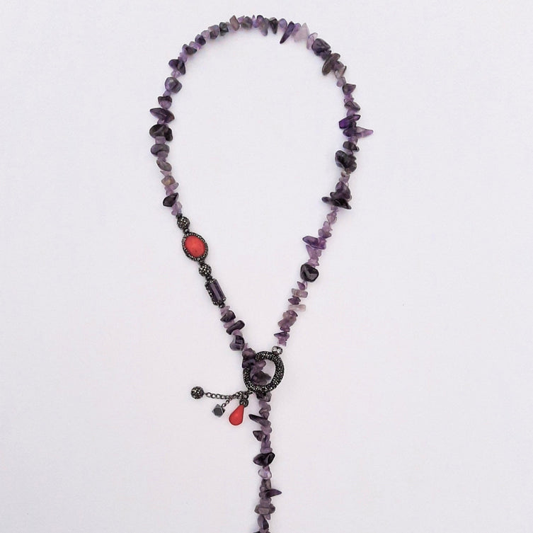 Heal and Wealth Necklace with Coral and Amethyst Stone with Pandellum | FeelHeal.me