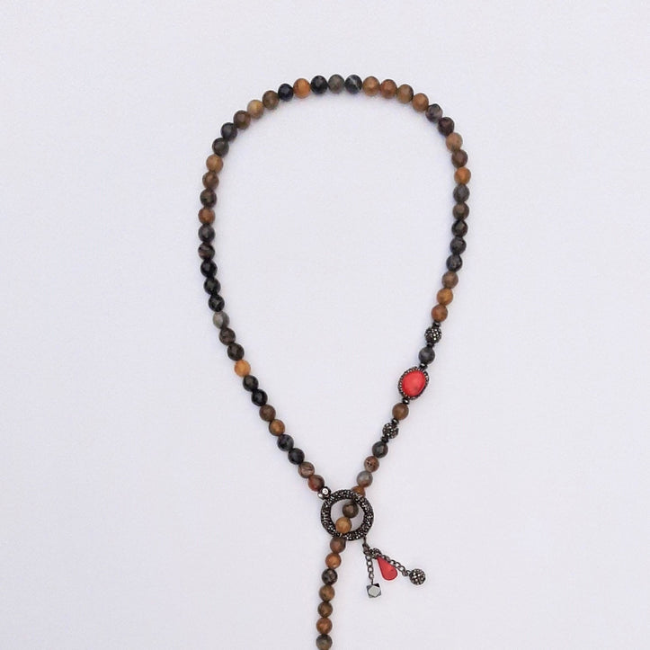 Devileye Necklace with Coral and Agate Stone | FeelHeal.me