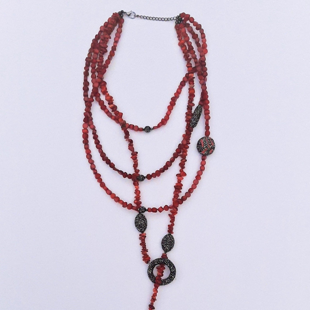 Devileye Coral Mala Necklace with Zircon Details | FeelHeal.me