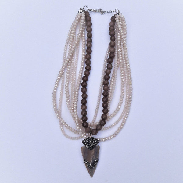 Multi Strand Life Energy Necklace with Lepidolit Stone and Crystals | FeelHeal.me