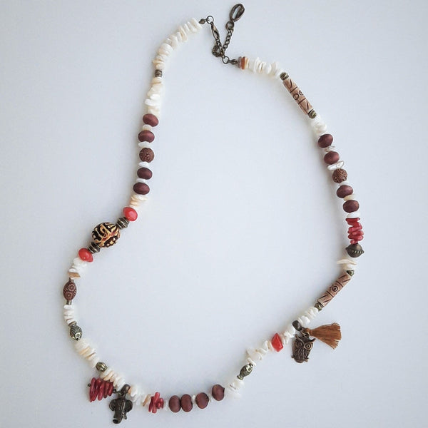 Mother of Pearl and Coral Stone Bohemian Necklace | FeelHeal.me
