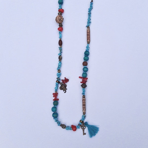 Turquoise and Coral Stone Healing Necklace | FeelHeal.me