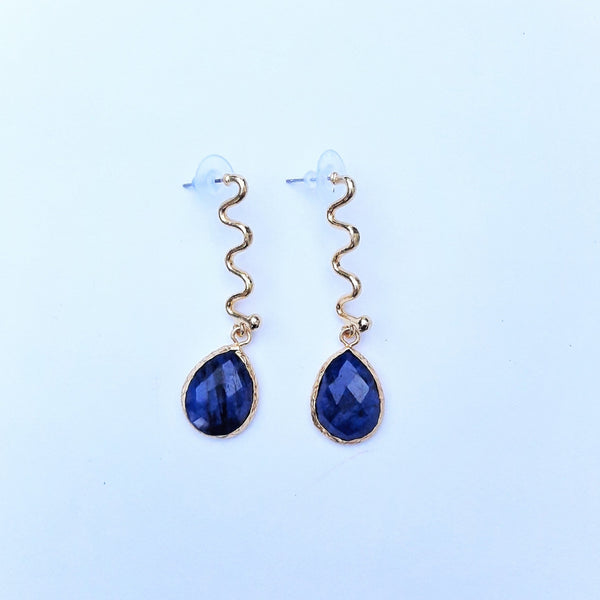 Bronze Earring with Sapphire Stone | FeelHeal.me