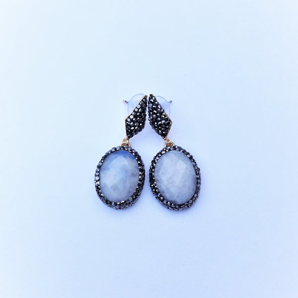 Ying Yang Earring with Moon Stone | FeelHeal.me