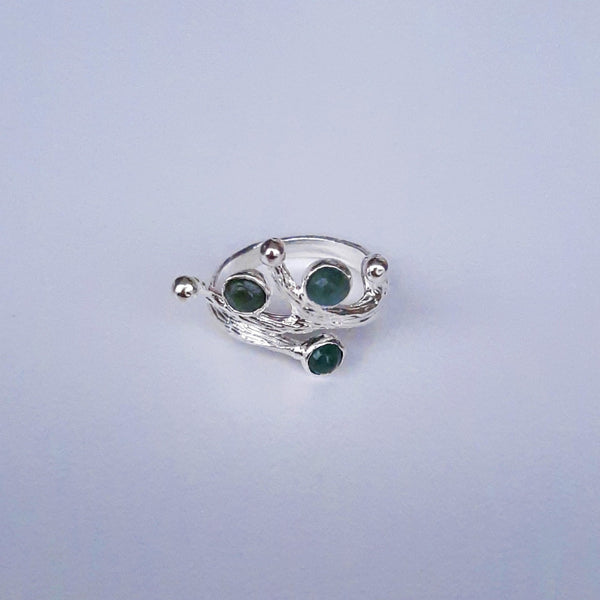 Handmade Silver Ring With Emerald Stone | FeelHeal.me