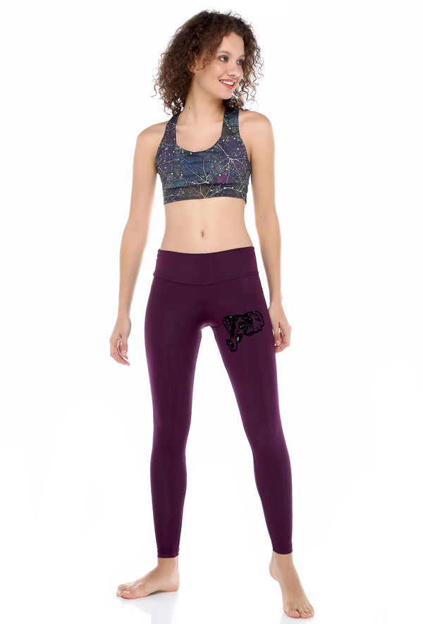 Ganesha Claret Red Leggings | FeelHeal.me