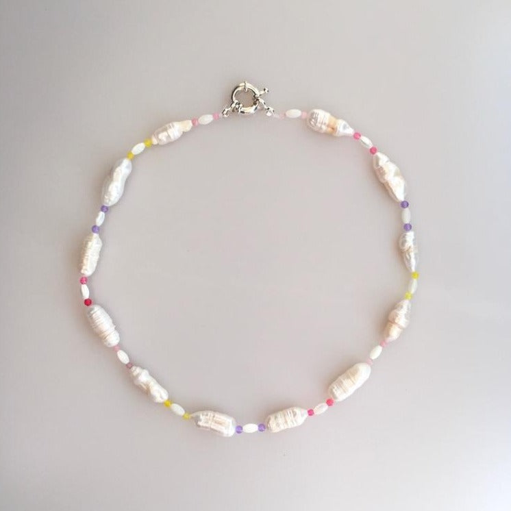 Pearl Necklace with Pastel Color Tiny Natural Stones