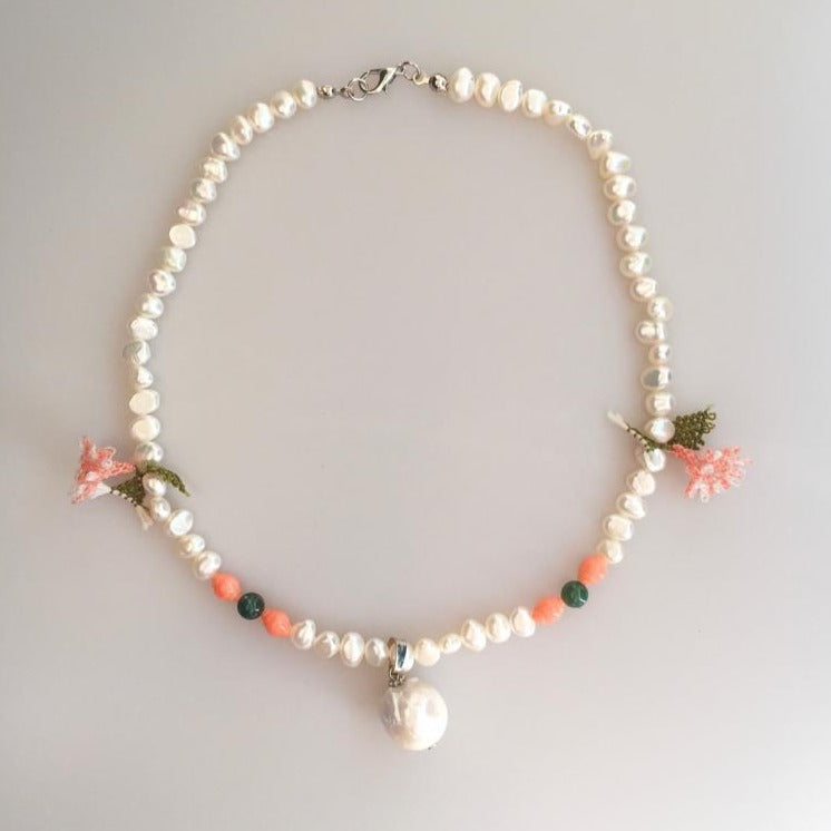 Pearl Necklace with Point Lace, Coral and Agate