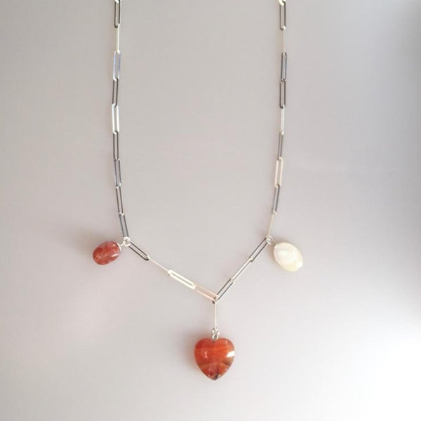 Heart Shaped Agate Natural Stone Silver Chain Necklace