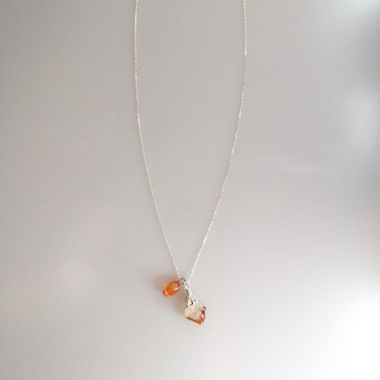 Citrine Natural Stone Silver Chain Necklace