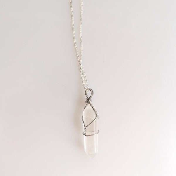 Selenite Natural Stone Silver Chain Necklace