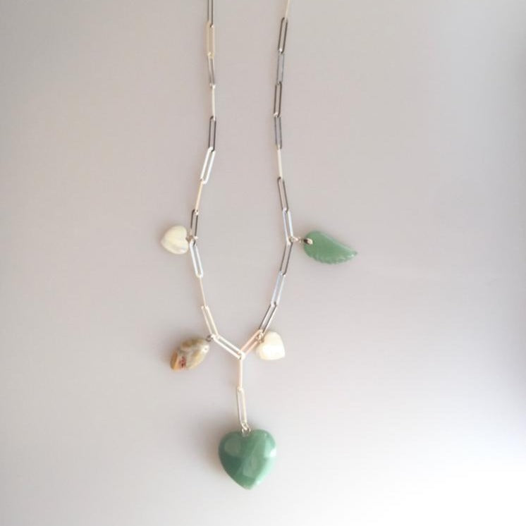 Heart Shaped Aventurine and Mother of Pearl Stone Silver Chain Necklace