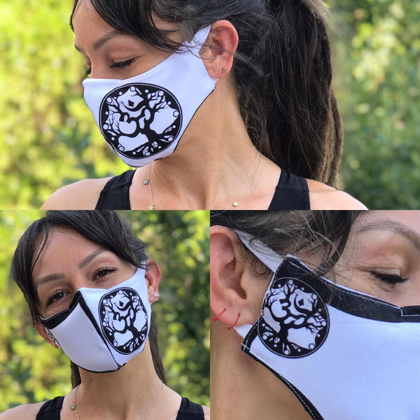 Aum Black and White Face Design Mask | FeelHeal.me