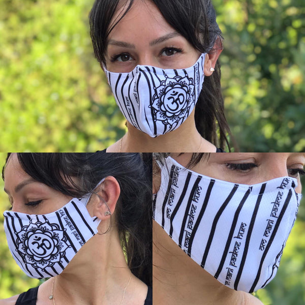 Stripe Black and White Face Design Mask | FeelHeal.me