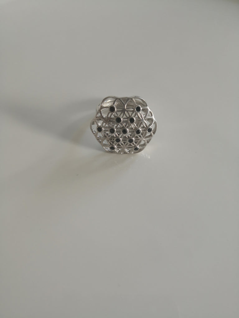 Flower of Life Silver Ring