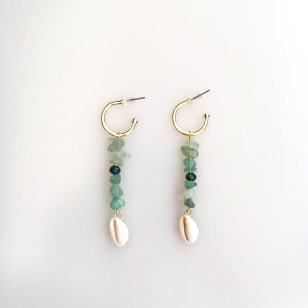 Aventurine Mussel Shell Earrings | FeelHeal.me