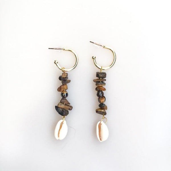 Shellfish Earrings with Tigereye Natural Stone