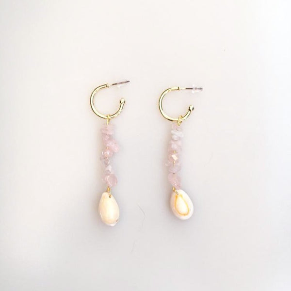 Rose Quartz Mussel Shell Earring | FeelHeal.me