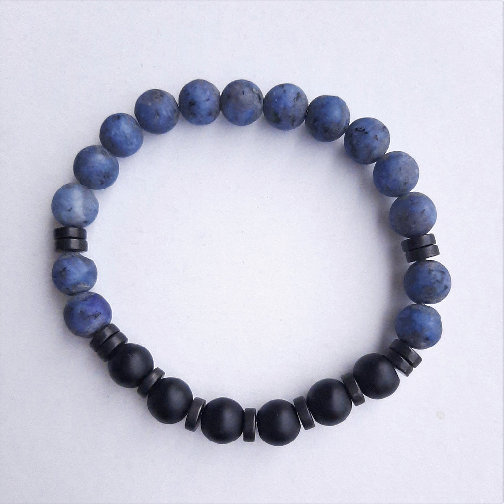 Blue Jasper and Onyx Stone Bracelet | FeelHeal.me