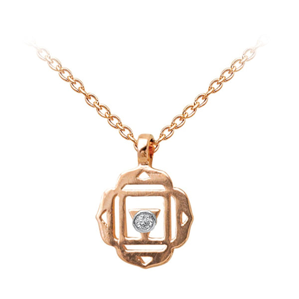 Root Chakra with Diamond (Muladhara) Gold Necklace | FeelHeal.me