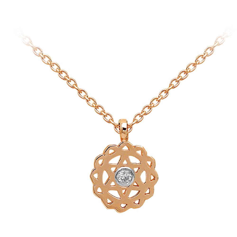 Heart Chakra with Diamond (Anahata) Gold Necklace | FeelHeal.me