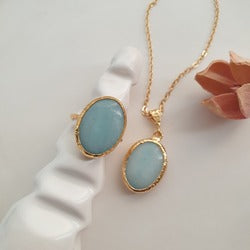 Light Blue Melon Stone Necklace and Ring | FeelHeal.me