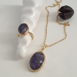 Amethyst Necklace and Ring | FeelHeal.me