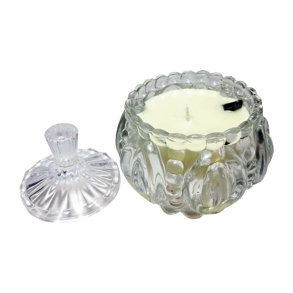 Crystal Quartz Stone Soy Candle | FeelHeal.me