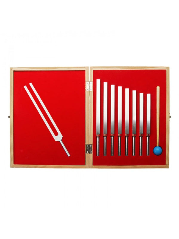 Wooden Boxed 9-Piece Tuning Fork Set | FeelHeal.me