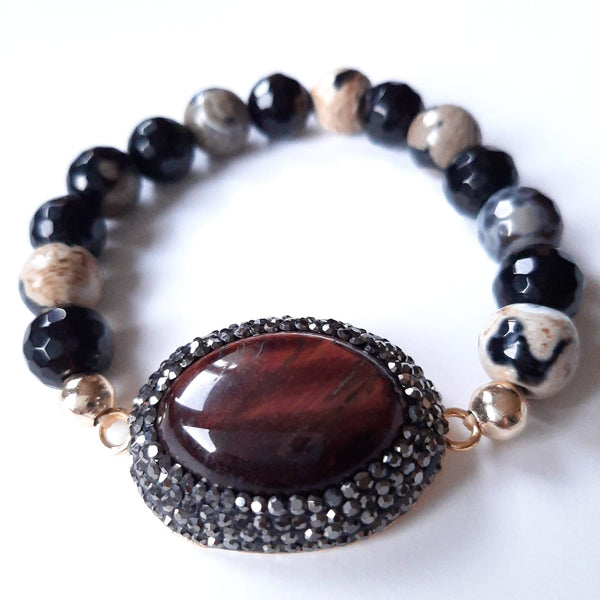 Agate & Tiger Eye Stone Bracelet | FeelHeal.me