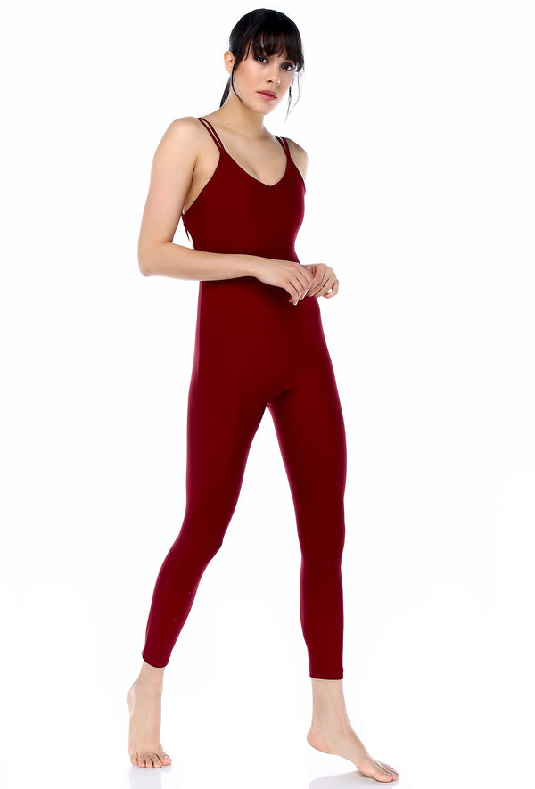 Catsuit Claret Red Jumpsuit | FeelHeal.me