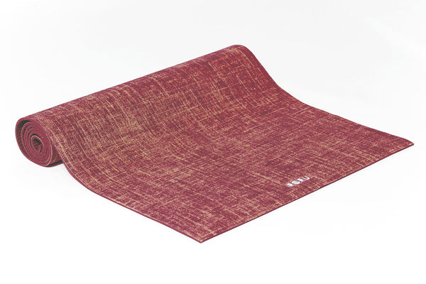 Natural Series Jute Top Layer Yoga Mat - MAROON | FeelHeal.me