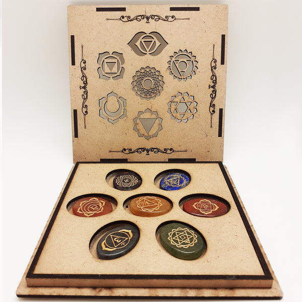 Set of 7 Natural Stone Chakras Box | FeelHeal.me