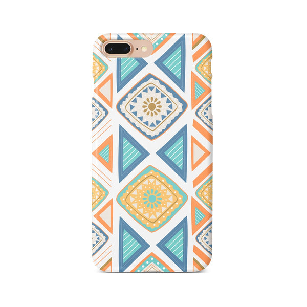 iPhone 7-8 PLUS Ethnic Blue Yellow Triangle Pattern Phone Case | FeelHeal.me