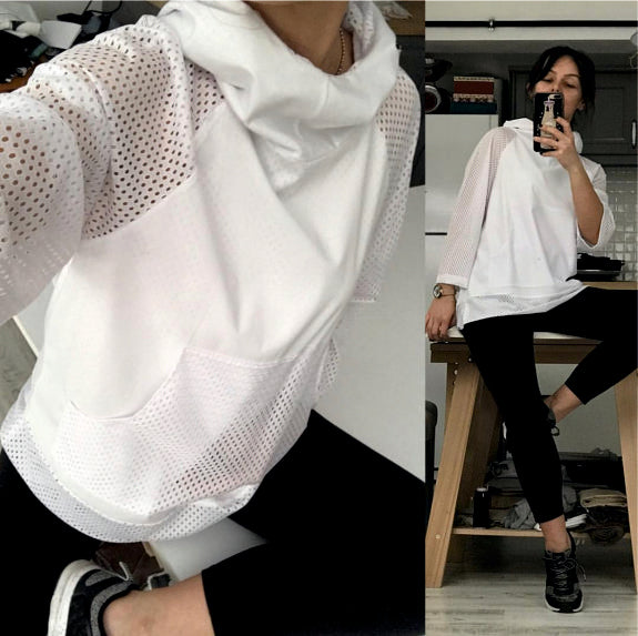 Filet Sleeves White Hoodie | FeelHeal.me
