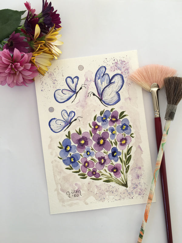 Dance Of Violets Watercolor Painting | FeelHeal.me