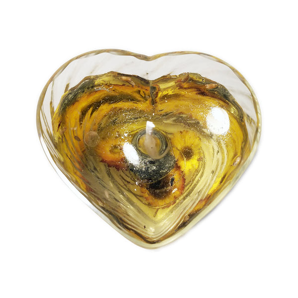 Heart Shaped Candle with Pyrite Stone | FeelHeal.me