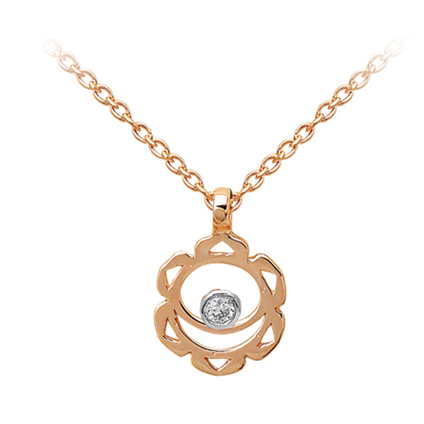 Sacral Chakra with Diamond (Svadhistana) Gold Necklace | FeelHeal.me