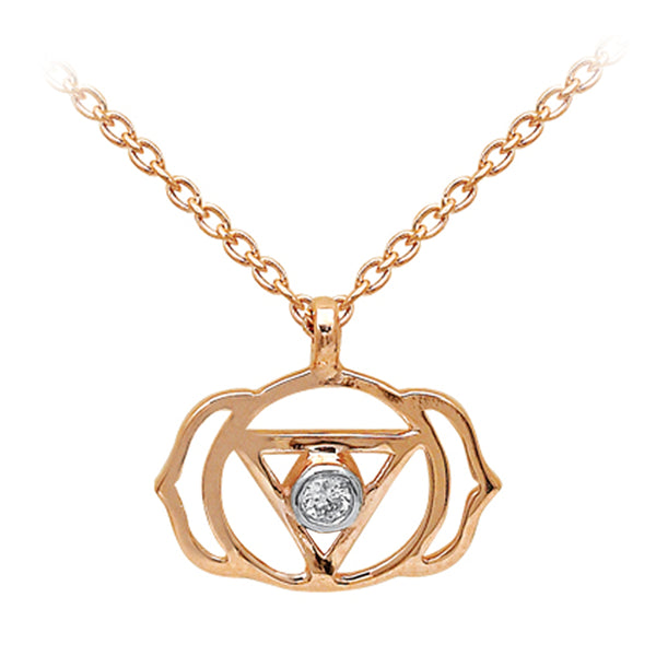 Diamond 3rd Eye Chakra (Ajna) Gold Necklace | FeelHeal.me