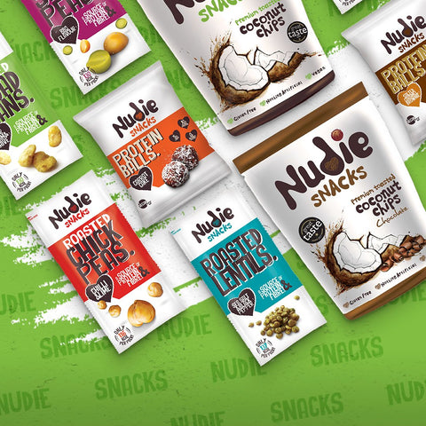 Collection of Nudie Snacks Plant-Based Products on a green background.