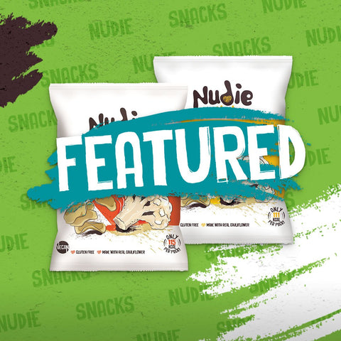 Nudie Snacks Featured Product Image on a green background.