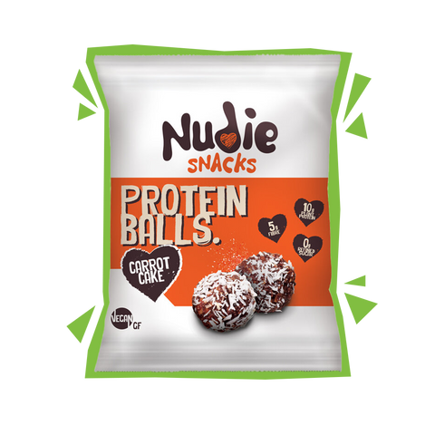 Nudie Snacks Carrot Cake Plant Based Protein Balls Packet with green outline.