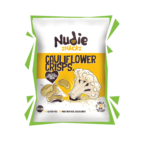 Nudie Snacks Cheese and Onion Cauliflower Crisps. Healthy, gluten-free crisp replacement
