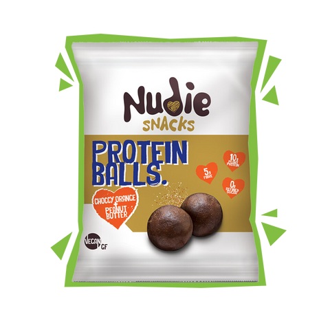 Nudie Snacks Vegan Chocolate Orange and Peanut Butter Protein Balls Product Packet with green outline