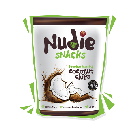 Award Winning Nudie Snacks Toasted Coconut Chips Product Packet with green outline.