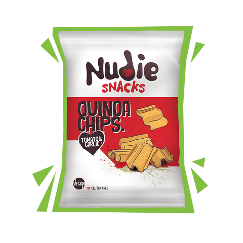 Nudie Snacks Dairy and Gluten Free Quinoa Chips Product Packet with green outline.