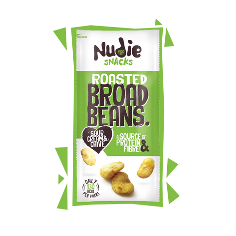 Nudie Snacks Roasted Broad Beans Sour Cream and Chive Product Packet with green outline.